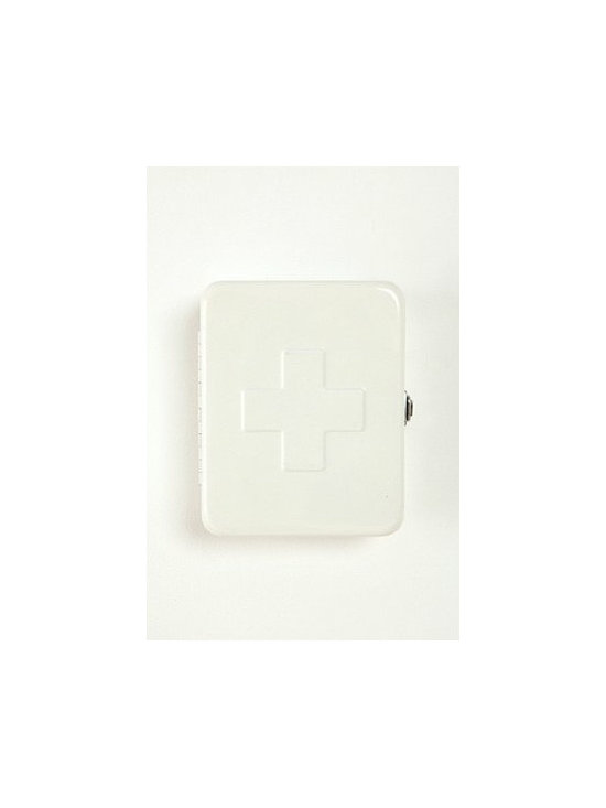 First Aid Storage Box, White - I've never seen a first aid kit I've loved as much as this one. White, enamel, simple, perfect — it's so pretty you can hang it on the wall so that guests will know where to find a bandage if they need it.