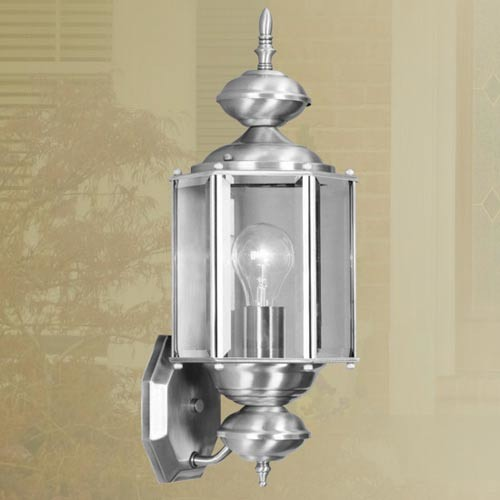 brushed nickel outdoor wall lantern traditional outdoor lighting. Black Bedroom Furniture Sets. Home Design Ideas