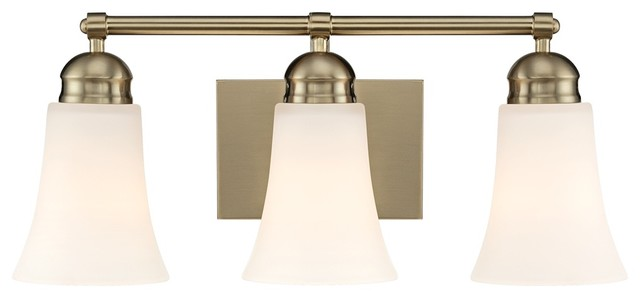 "Contemporary White Glass 19"" Wide Brushed Brass Bathroom Light Fixture contemporary bathroom lighting and vanity lighting"