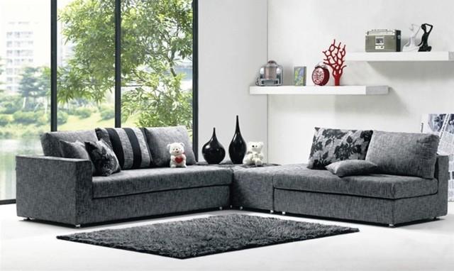 Modern Denim Blue Fabric Sectional Sofa Set : modern sectional sofas from www.houzz.com size 640 x 382 jpeg 68kB
