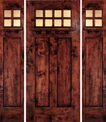 Jeld wen 1381 distressed alder door sidelights dark cherry - Jeld wen exterior doors with sidelights ...