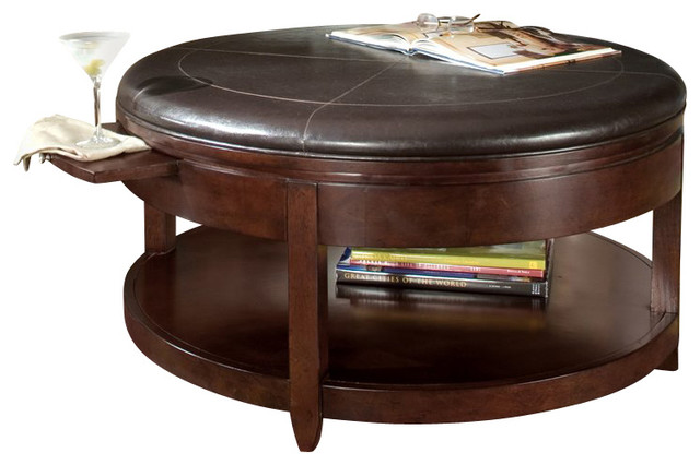 Brunswick Round Cocktail Table With Casters Transitional Coffee Tables
