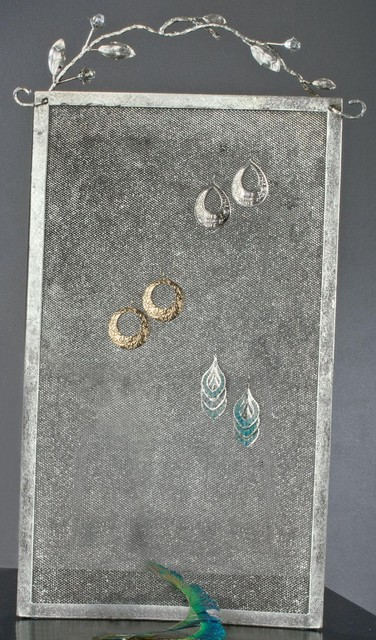 Mesh Wall Earring Display - Wall Hanging, Modern Jewelry Organizer ...