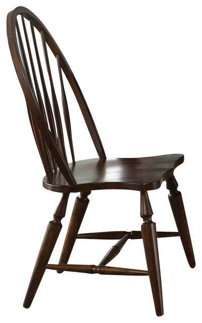 Liberty Furniture Cabin Fever Windsor Back Side Chair in Brown, Dark Wood (Set o traditional-dining-chairs