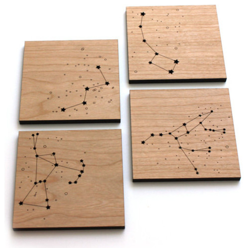 Star Constellations Wood Coasters by Pepper Sprouts eclectic-coasters