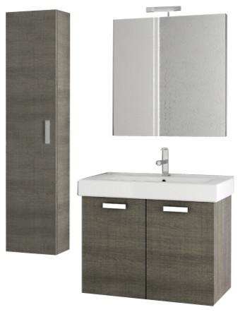 30 inch grey oak bathroom vanity set modern bathroom for Gray 30 inch bathroom vanity