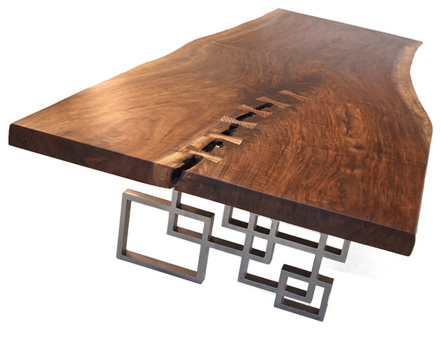 Live Edge Walnut Dining Table contemporary-dining-tables