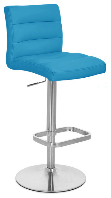 Teal Lush Adjustable Height Bar Stool Contemporary Bar