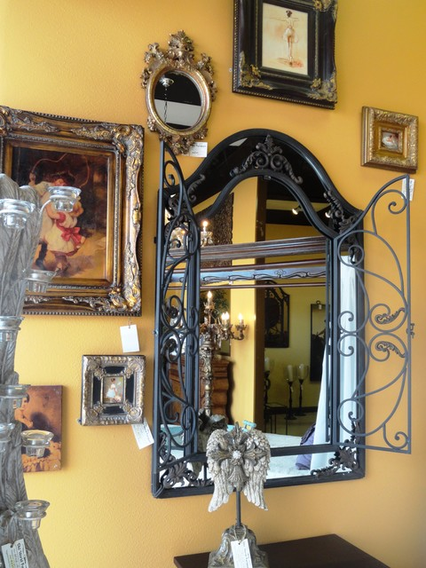 Marjorie iron mirror traditional houston by