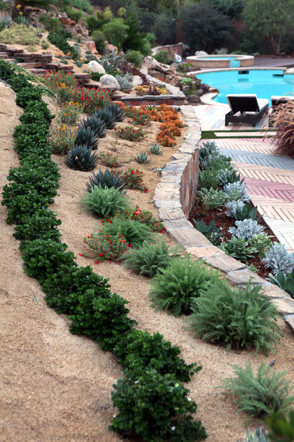 Slope landscape and garden ideas contemporary - Ideas for gardens on a slope ...