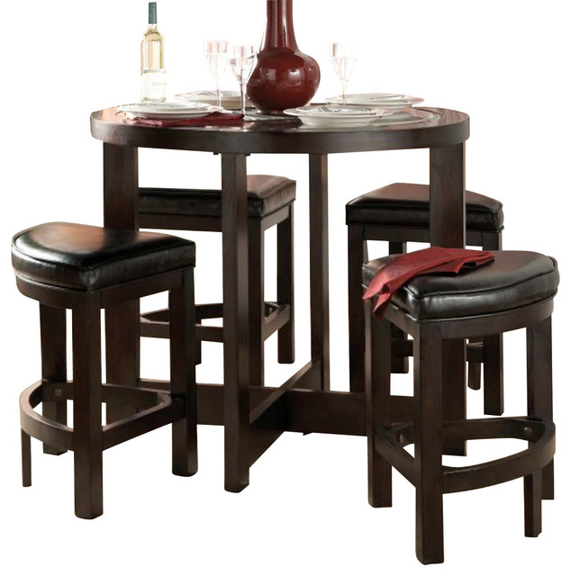 Homelegance brussel 5 piece round counter dining room set for Traditional round dining room sets