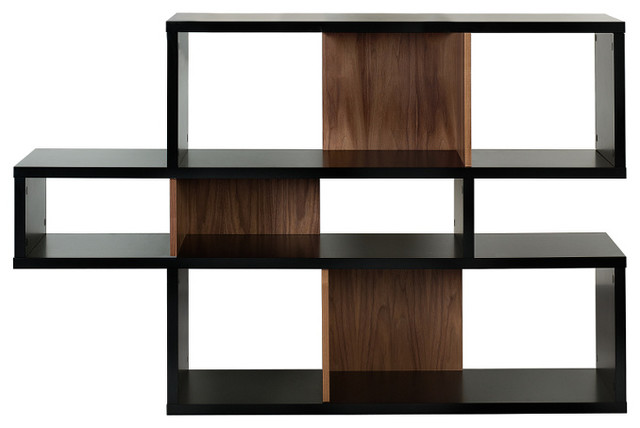 London Composition 001, Pure Black Frame, Walnut Backs modern-storage-cabinets