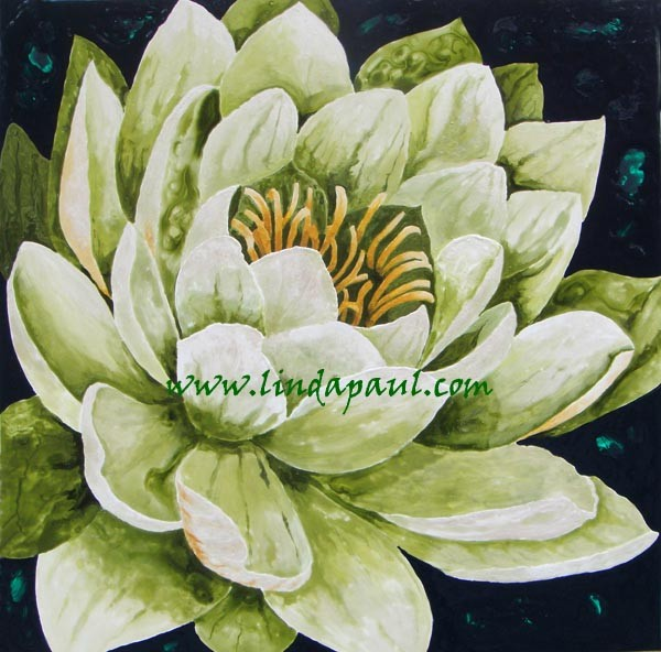 Lotus flower painting green and white large original for Painting large flowers in acrylic