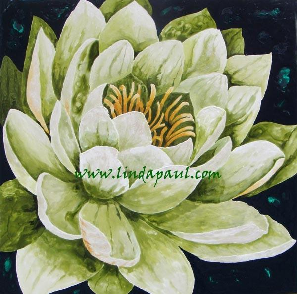 Lotus Flower Painting - green and white large original artwork artwork