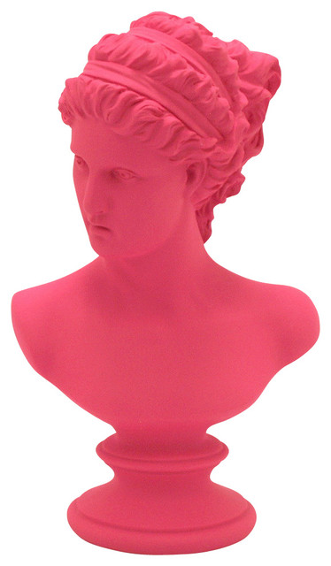Pink resin bust female modern decorative objects and for Modern decorative objects