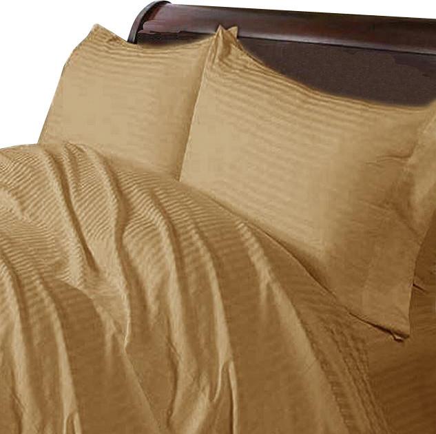 400TC 100% Egyptian Cotton Stripe Taupe Full XL Size Sheet Set asian-sheets