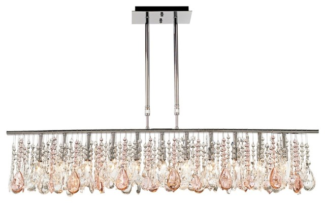 """Contemporary Luminous 48"""" Wide Clear and Pink Crystal Chandelier contemporary-chandeliers"""
