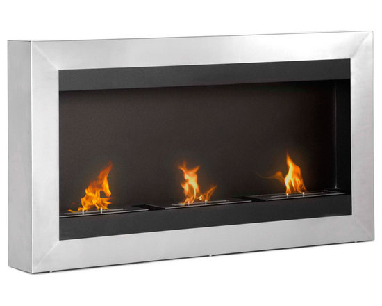 Moda Flame - Inca Wall Mounted Ethanol Fireplace - The Inca is a contemporary unique fireplace with its triple bio-ethanol burner concept, providing malting flames that seemingly dance with one another.