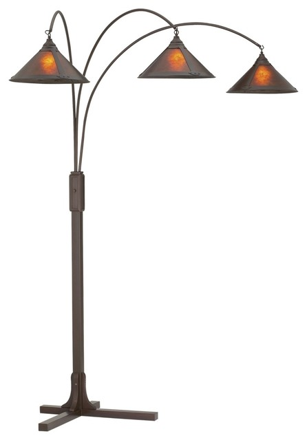 Mission Arc With Mica Shade Floor Lamp Traditional