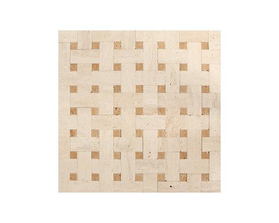 Noche Travertine Polished Basketweave Natural Stone Mosaic -