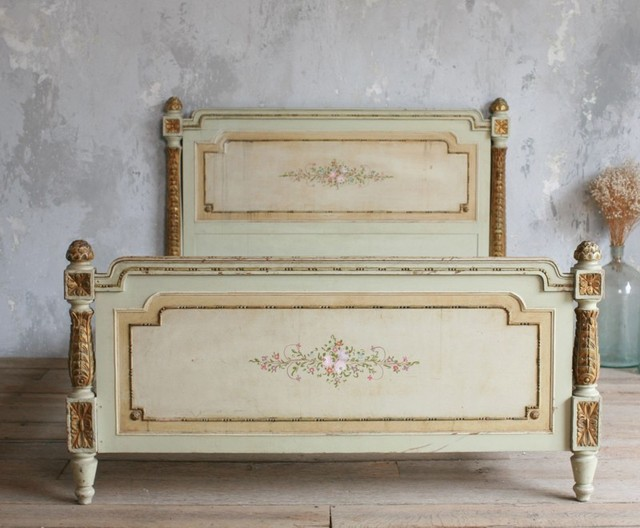 Vintage Shabby Hand Painted French Style Floral Bed - contemporary ...