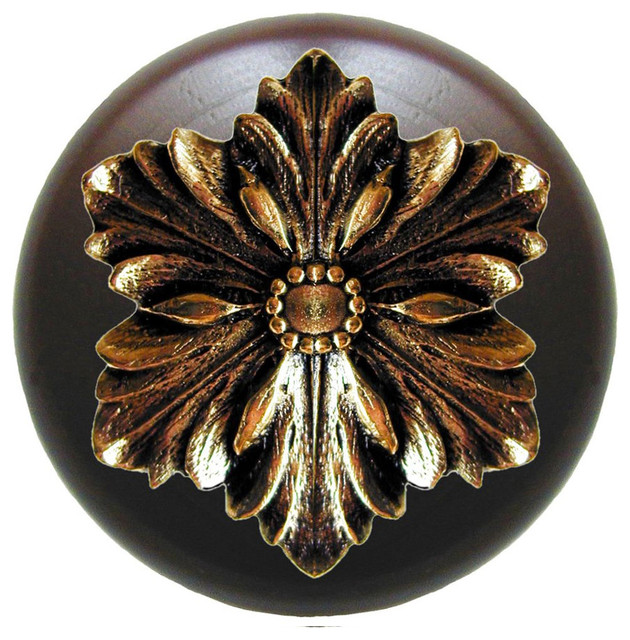 Opulent Flower Walnut Wood Knob (bright brass) - Traditional - Cabinet And Drawer Knobs - by ...