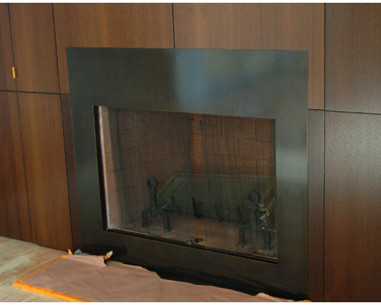Kamm residence - Custom patinaed steel fireplace front. I did four for this house. Four different room fireplaces.