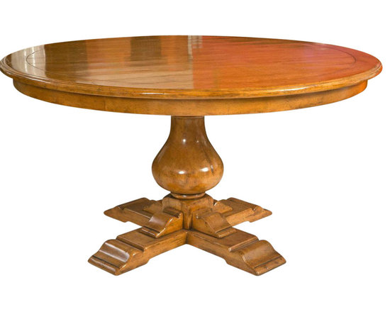 Bausman - Pedestal Dining Table Attributed to Bausman Furniture - Custom stained elm pedestal dining table attributed to Bausman Furniture. Board inscribed top and very light distressing. Near mint condition. Excellent quality, solidity, and craftsmanship.