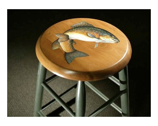 Round Kitchen Stool With Hand Painting Of Fish - Made by http://www.ecustomfinishes.com