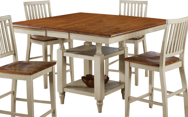 Steve silver candice 54x42 counter height table in oak and for Farmhouse counter height table