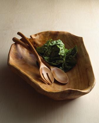 Natural Wood Salad Servers traditional-platters