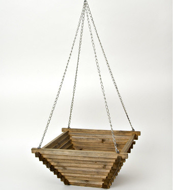 Hardwood Hanging Basket - contemporary - outdoor planters - by ...