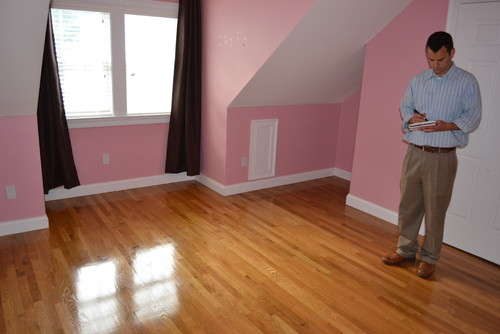 Moving soon and this very pink bedroom will soon be a - Slanted ceiling paint ideas ...