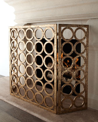 Golden Circles Fire Screen traditional-fireplace-accessories