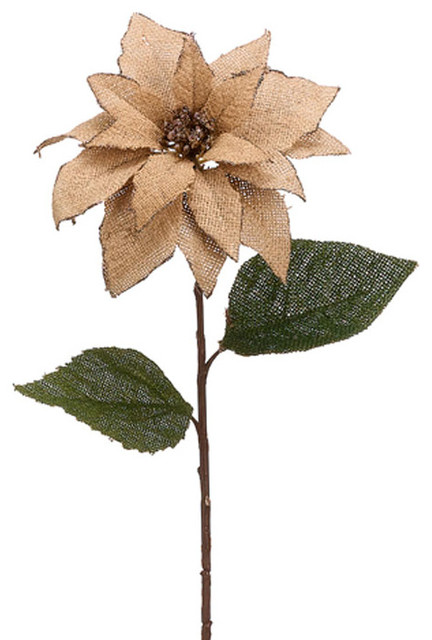 Natural Burlap Poinsettia Spray rustic-christmas-decorations