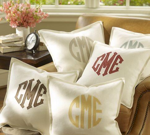 Monogram Applique Pillow Cover decorative-pillows