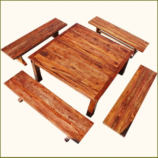 Rustic Square Santa Cruz Dining Table With 4 Benches For 8