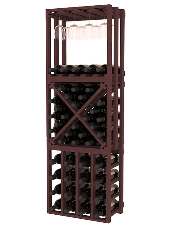 Lattice Stacking Cube - 3 Piece Set in Pine with Walnut Stain - Designed to stack one on top of the other for space-saving wine storage our stacking cubes are ideal for an expanding collection. This 3-piece set comes with (1) X-Cube, (1) Stemware Cube and (1) 4 Column Cubicle. Use as a stand alone rack in your kitchen or living space or pair with more stacking cubes as your wine collection grows.