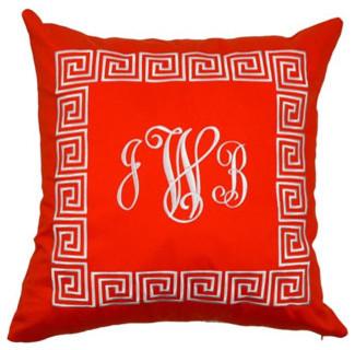 Monogrammed Orange Throw Pillow traditional-pillows
