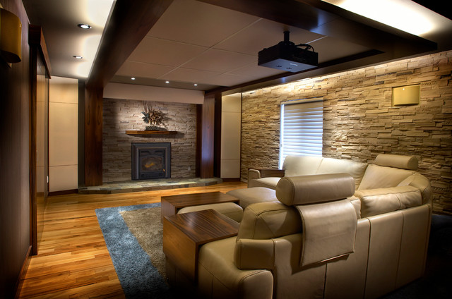 Comfy Home Theatre And Family Room Modern Montreal By Maria Deschamps Design