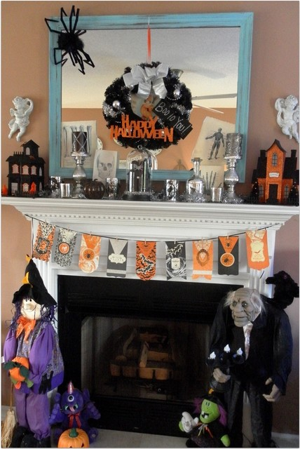 Decorating A Halloween Mantel  Traditional  raleigh  by  ~ 050347_Halloween Themed Room Ideas