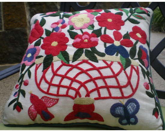 Vintage Crewel Floral Pillow by Lynda's Designs -