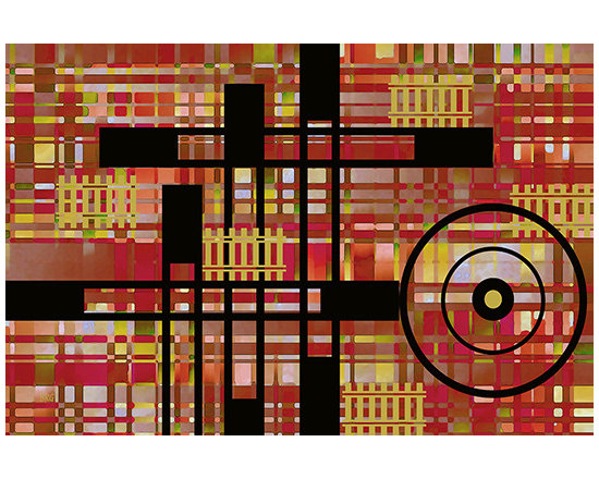 City Works by Ben and Raisa Gertsberg - canvas art, art print, giclee - This modern geometric abstract with industrial feel, in cubism style, is inspired by urban environment that appears to be in the permanent state of construction and transformation. New multistory commercial and residential buildings and entire blocks mushroom on busy city streets, behind temporary fences - organized chaos that will produce better planned, more livable and more walkable communities.