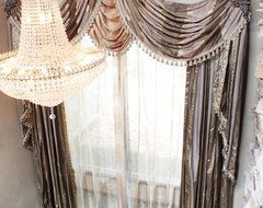 Custom window treatments traditional entry