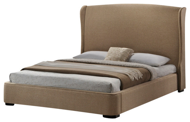 Linen Modern Bed with Upholstered Headboard - King Size - Contemporary ...