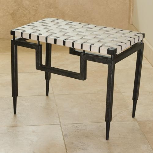 Global Views Iron and Leather Bench traditional-bedroom-benches