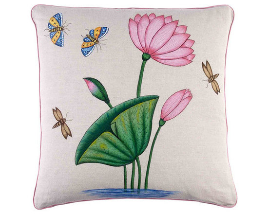 """John Robshaw - Lotus Decorative Pillow design by John Robshaw. """"I printed these old blocks softly and unevenly in the workshop to get an antique quality to the prints. I see the prints on the move across the fabric.."""" - John Robsaw"""