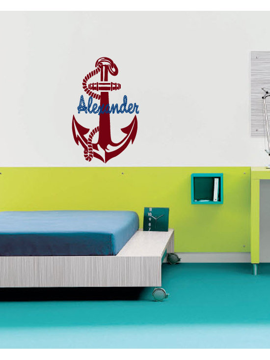 Vinyl Decals Personalized Name with Anchor Home Wall Decor Removable Sticker Mur -