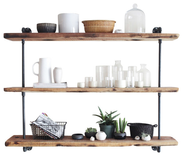 Tier 3 Industrial Pipe Bookshelf industrial-display-and-wall-shelves