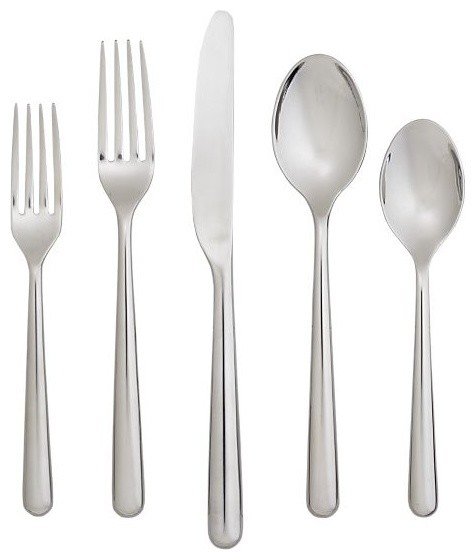 Charlotte 20 Piece Flatware Set Modern Flatware And Silverware Sets By Crate Barrel